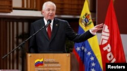 While serving as Venezuelan Energy Minister, Rafael Ramirez delivers a speech at the headquarters of the state-run oil company PDVSA in Caracas, June 27, 2014.