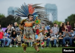 A dancer performs at an Indigenous Peoples' Day Festival in New York, Oct. 2017.
