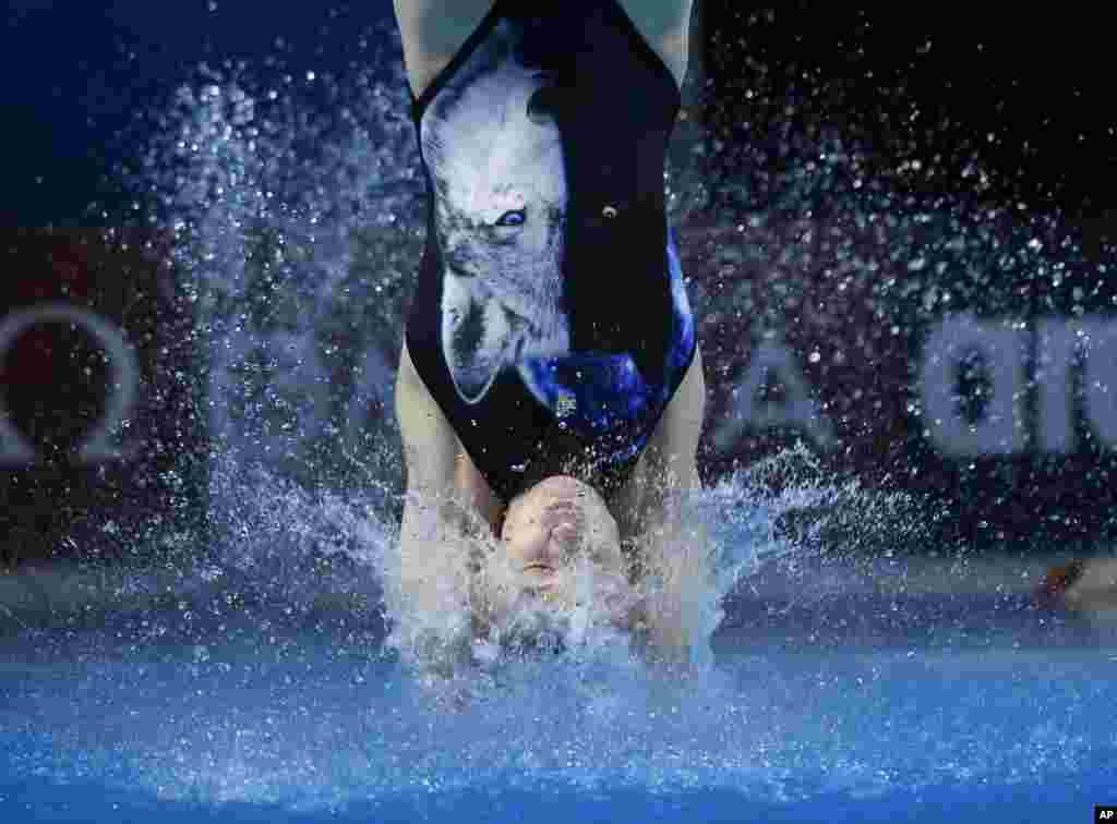 تصویری از شناگر اوکراینی در مسابقات جهانی شنا در بوداپست مجارستان