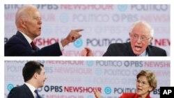 Các ứng cử viên Đảng Dân Chủ Joe Biden, Bernie Sanders, Pete Buttigieg, Elisabeth Warren