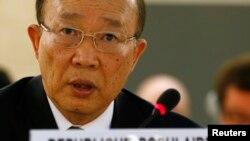 지난 3월 스위스 제네바에서 열린 유엔인권이사회 회의에서 북한의 서세평 제네바 유엔본부 주재 대사가 발언하고 있다. (자료사진)