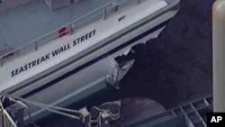 Повреждения, которые паром получил в результате столкновения с причалом. Нижний Манхэттен, Нью-Йорк, 9 января 2013 года