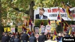 Một cuộc biểu tình chống ông Tập Cận Bình của người Tây Tạng ở nước ngoài.
