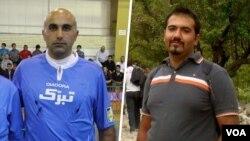سهیل عربی (راست) به همراه حمید حاج جعفرکاشانی به ادامه بازداشت خانم «نرگس مظلوم» معترض هستند.