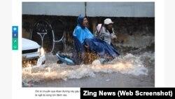 Trên một con đường ngập lụt ở Sài Gòn hôm 25/11.