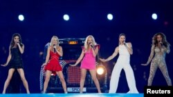 FILE - The Spice Girls perform during the closing ceremony of the London 2012 Olympic Games at the Olympic Stadium, Aug. 12, 2012.