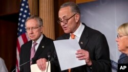 From left, Senate Majority Leader Harry Reid of Nev., Sen. Charles Schumer, D-N.Y., and Senate Budget Committee Chair Sen. Patty Murray, D-Wash., announce that President Barack Obama has invited the top leaders in Congress to meet with him at the White Ho