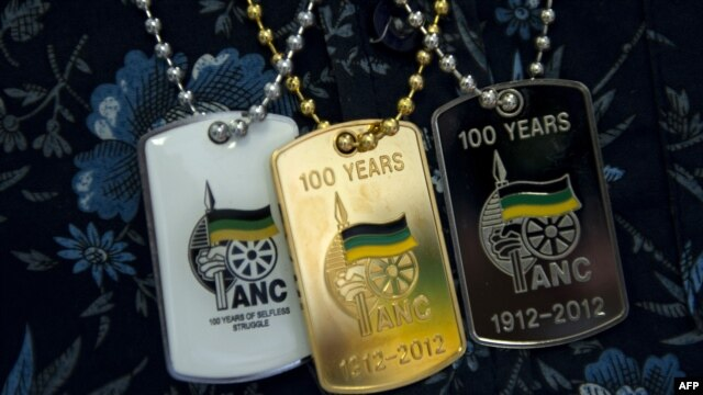 Souvenir dogtags celebrate the 100th anniversary of South Africa's ruling African National Congress (ANC) party. (File)