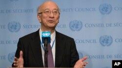 Duta Besar Jepang di PBB,Koro Bessho memberikan keterangan kepada media (foto: dok).