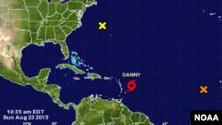 Tormenta tropical Danny, acercándose a las Antillas menores.