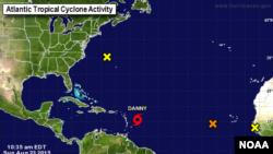 La tormenta tropical Danny se convertirá el lunes en depresión tropical según el Centro Nacional de Huracanes, en Miami.