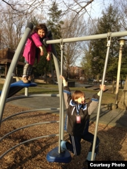 Rafi and Dvora Meitiv like to play at playground near their home -- without their parents. February 2015 (FILE/Julie Taboh)