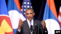 2016年9月6日,美国总统奥巴马在老挝万象民族文化宫发表演讲。