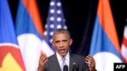 Rais Barack Obama akihutubia kikao cha Mataifa ya South Pacific Vientiane Laos Septemba 6, 2016.