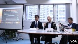 香港智庫民主思路公佈第三輪一國兩制指數調查結果。(美國之音湯惠芸)