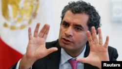 FILE - Federal Electricity Commission (CFE) chief executive Enrique Ochoa gestures during an interview with Reuters in Mexico City, May 19, 2014.