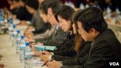 參加商談的台灣代表。(美國之音記者方正拍攝)