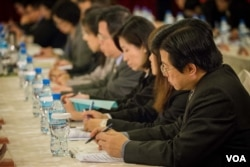 参加商谈的台湾代表。(美国之音记者方正拍摄)