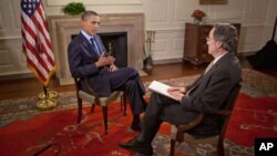 백악관 맵 룸에서 VOA와 단독 인터뷰를 하는 오바마 대통령