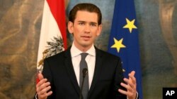 Foreign Minister Sebastian Kurz speaks during a joint news conference with Austrian President Alexander van der Bellen after their talks at the Hofburg palace in Vienna, Austria, Oct. 20, 2017.