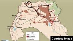 Peta wilayah kekuasaan ISIS per 15 Januari 2015 seperti dilaporkan Institute for the Study of War, sementara Organisasi Financial Action Task Force melaporkan sumber pendanaan ISIS akan berkurang jika ISIS tidak bisa mengembangkan wilayahnya.