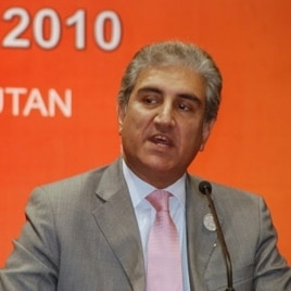 Pakistani Foreign Minister Shah Mehmood Qureshi at news conference in Thimphu, Bhutan, 29 April 2010