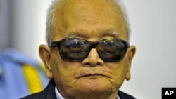 "Khmer Rouge ""Brother Number Two"" Nuon Chea attends a public hearing at the Extraordinary Chambers in the Courts of Cambodia, on the outskirts of Phnom Penh, file photo."