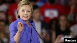 힐러리 클린턴 미 민주당 대선후보가 지난 27일 오하이오주 신시내티에서 열린 유세에서 연설하고 있다.
