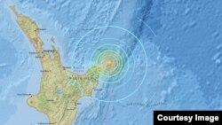1일 규모 7.1 지진이 발생한 뉴질랜드 북동쪽 해상 지도. (미 지질조사국 제공)