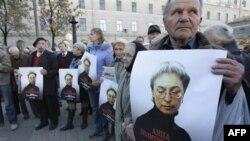 Митинг в Москве, посвященный памяти Анны Политковской. Архивное фото.