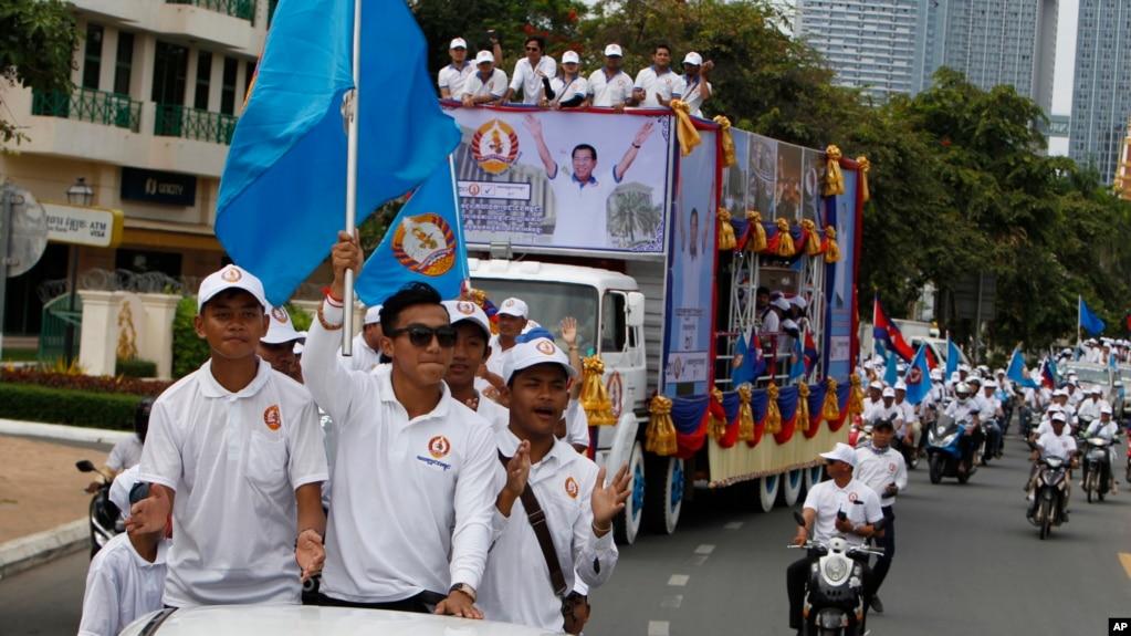 2018年7月7日,柬埔寨首相洪森的人民黨的支持者在柬埔寨金邊競選造勢。