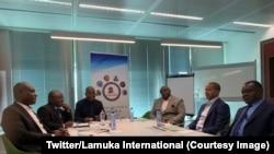 De gauche à droite : Martin Fayulu, Antipas Mbusa, Adolphe Muzito, Jean-Pierre Bemba, Moïse Katumbi et Freddy Matungulu, lors d'une rencontre de la coalition Lamuka à Bruxelles, Belgique, le 26 avril 2019. (Twitter/Lamuka International)