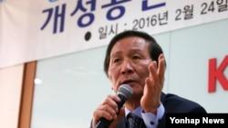 24일 서울 중소기업회관에서 열린 개성공단기업협회 비대위 총회에서 정기섭 비대위원장이 발언하고 있다.