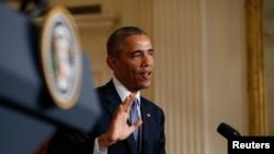 Tổng thống Obama nói chuyện tại một cuộc họp báo
