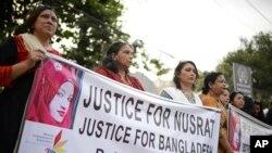 Des protestataires demandent justice pour Nusrat Jahan Rafi, Dacca, Bangladesh, 19 avril 2019.