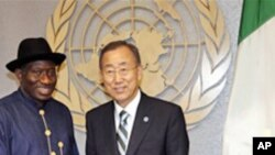 Ban Ki-moon, right, Secretary General of United Nations greets Goodluck Jonathan, President of Nigeria, left, during the 66th U.N. General Assembly at UN Headquarters.