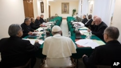 Pope Francis meets with advisers at the Vatican, Feb. 13, 2017.