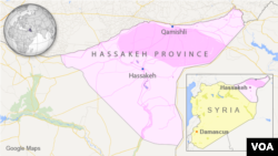 ແຜນທີ່ແຂວງ Hassakeh province ຂອງຊີເຣຍ ທີ່ສະແດງ ໃຫ້ເຫັນເມືອງ Hassakeh ແລະເມືອງ Qamishli.