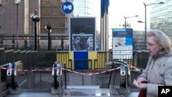 Hệ thống xe điện ngầm ở Brussels vẫn đóng cửa hôm 24/11/2015.