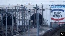 Lối vào đường hầm Channel gần Calais. ở Coquelles, Thứ Bảy, 17/1/2015.