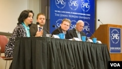 From left to right: Navbahor Imamova, Nicklas Norling, Dr. Sean Roberts and Dr. S. Frederick Starr speak at a forum on March 27 on the social basis of politics in Central Asia. (photo: Ashley Thompson)