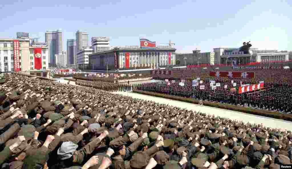 North Koreans attend a rally in support of North Korean leader Kim Jong-un's order to put its missile units on standby in preparation for a possible war against the U.S. and South Korea, Pyongyang, March 29, 2013.