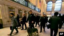美国警察在纽约中央火车站巡逻 (2016年3月22日)