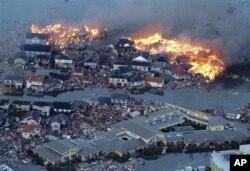 日本宫城县名区市灾后废墟
