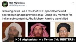 Anúncio no Twitter da morte de Muhsin Al-Masri