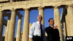 Премьр-министр Греции Георгиос Папандреу и премьер Госсовета КНР Вэнь Цзябао