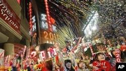 香港居民欢迎新年来临