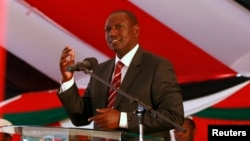 FILE - Kenyan Deputy President William Ruto delivers speech in Nairobi, October 2013.