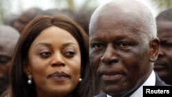 FILE - Angolan President Jose Eduardo dos Santos and wife Ana Paula attend inauguration of Luanda Bay Marginal, Luanda, Aug. 28, 2012.