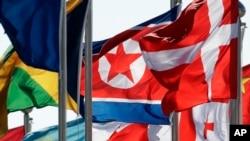 北韓派高級代表團赴南韓參加冬季奧運會﹐圖中可見北韓國旗。